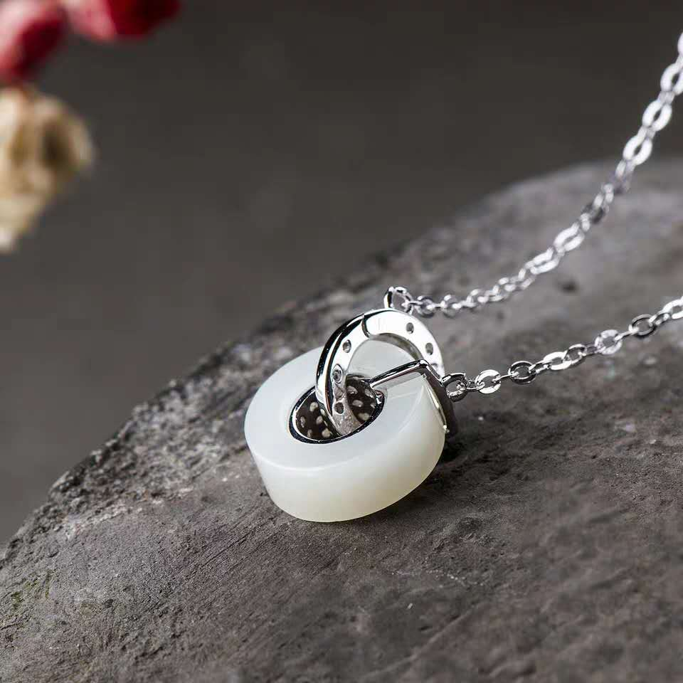 S925 Sterling Silver White Jade Necklace for women