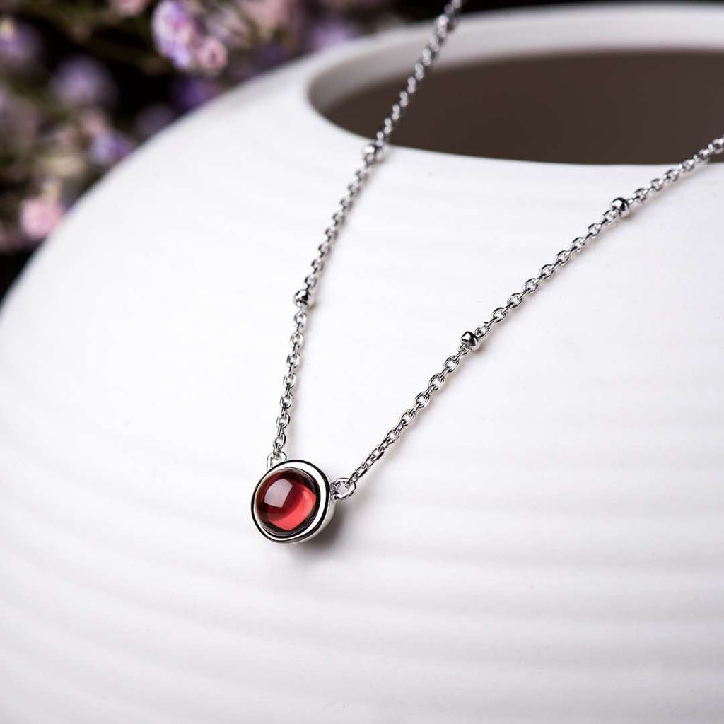 S925 Silver Garnet Necklace-Woman Necklace-Bemine.Jewelry