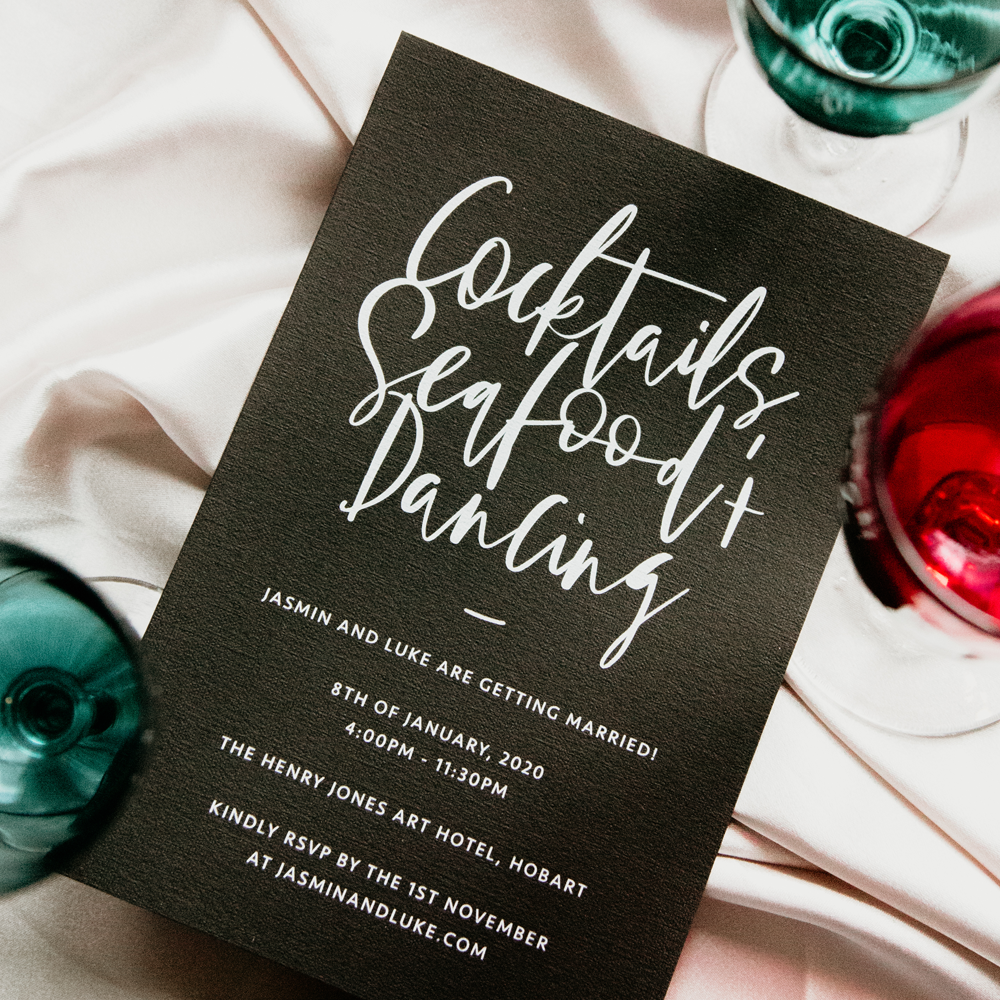 Bold Handwritten Invitation | Custom Luxury Wedding Stationery | Blossie Launceston