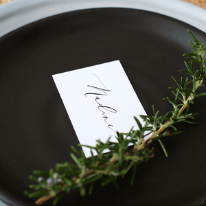 White Place Card with Black Calligraphy