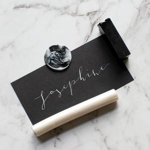 Black Place Card with White Calligraphy