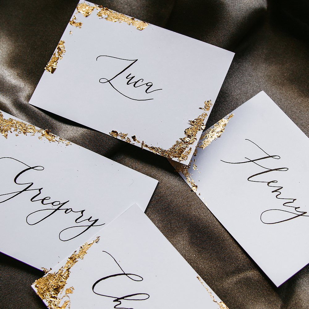 Gold Leaf Calligraphy Name Place | Custom Luxury Wedding Stationery | Blossie Launceston