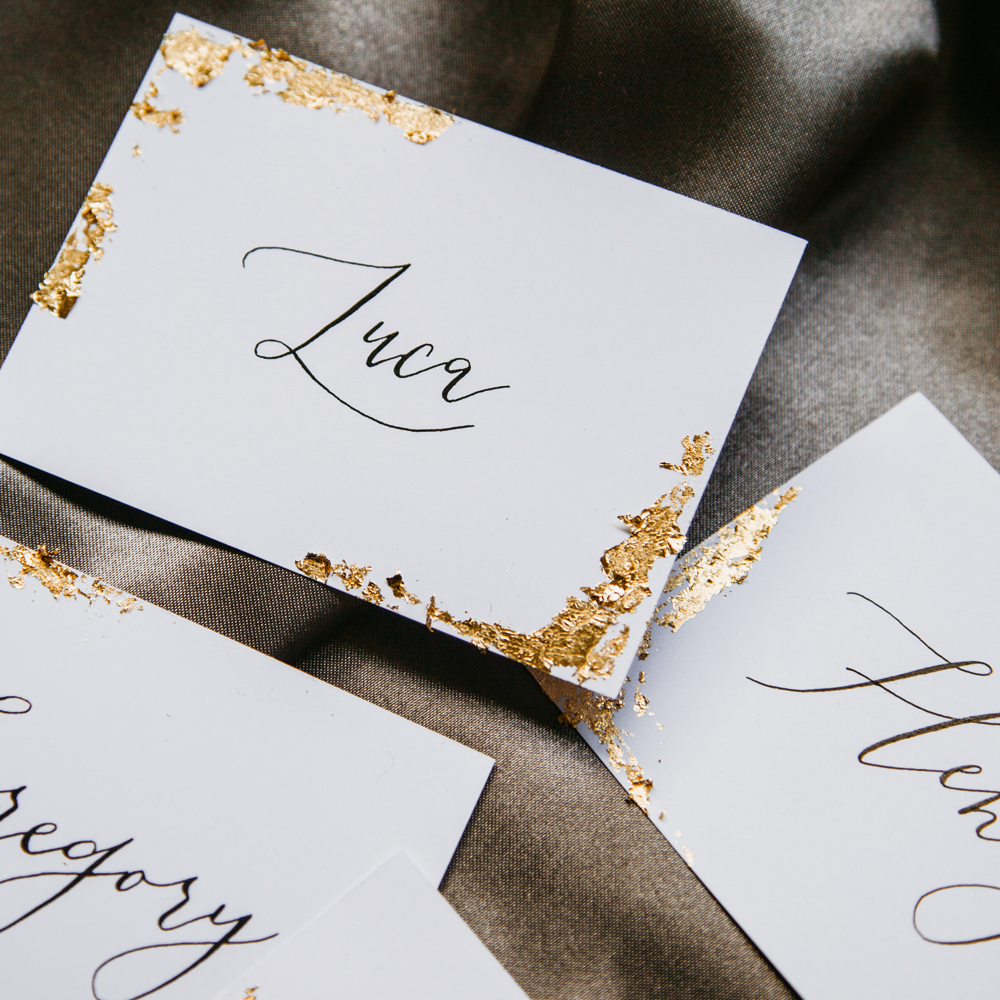 Gold Leaf Calligraphy Place Card