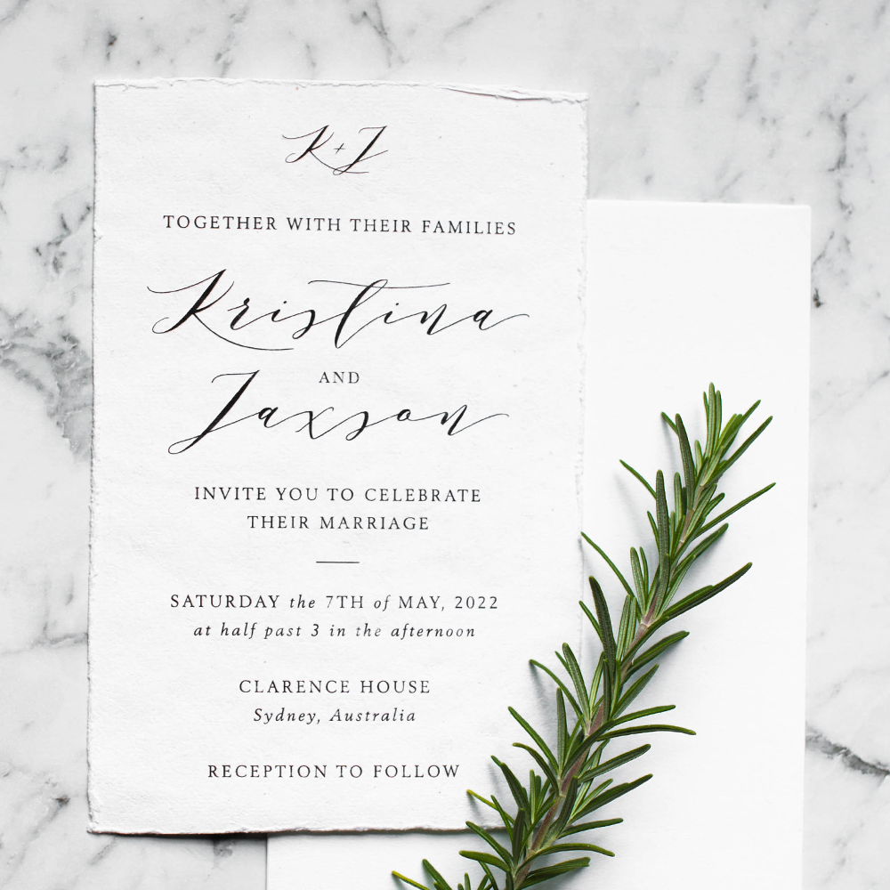 Classic Deckled Edge Wedding Invitation | Custom Luxury Wedding Stationery | Blossie Launceston