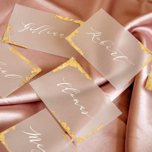 Gold Leaf Calligraphy Vellum Place Card