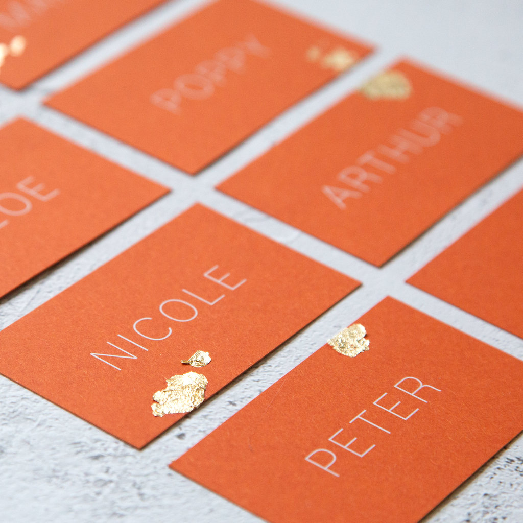 Orange with Gold Leaf Name Place