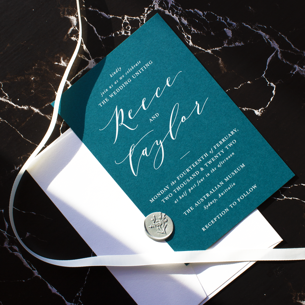 Sea Green Teal Calligraphy Wedding Invitation | Custom Luxury Wedding Stationery | Blossie Launceston