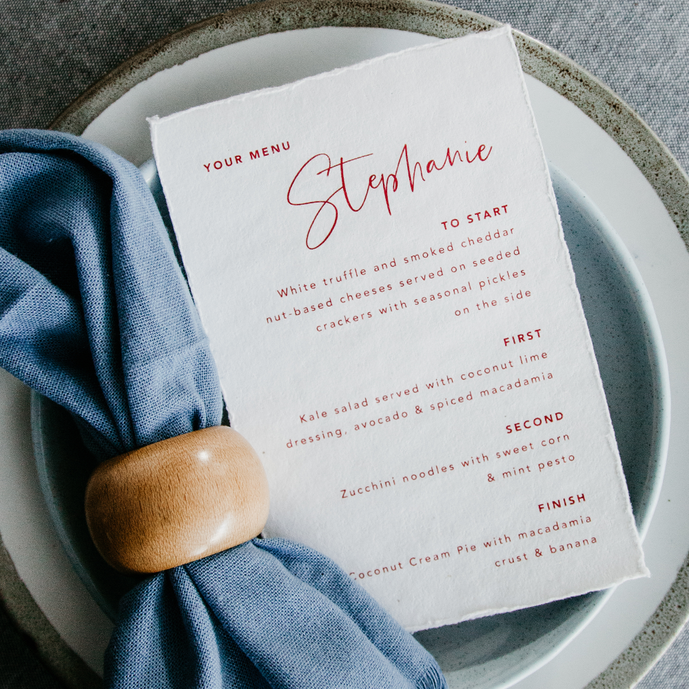 Deckled Edge Wedding Menu | Custom Luxury Wedding Stationery | Blossie Launceston