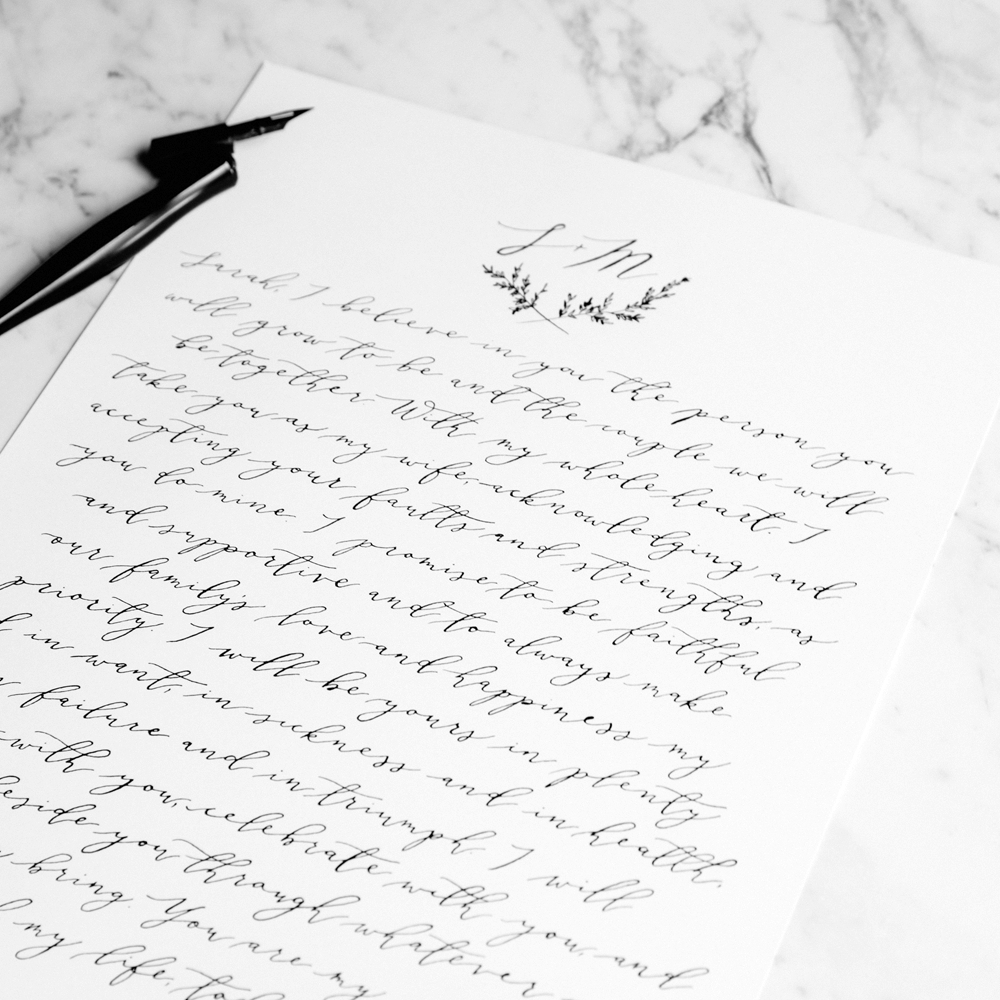Handwritten Calligraphy Vows | Custom Luxury Wedding Stationery | Blossie Launceston