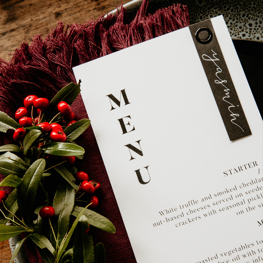 Modern Wedding Menu | Custom Luxury Wedding Stationery | Blossie Launceston