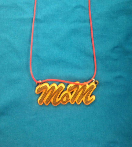 Wooden mom necklace pendant