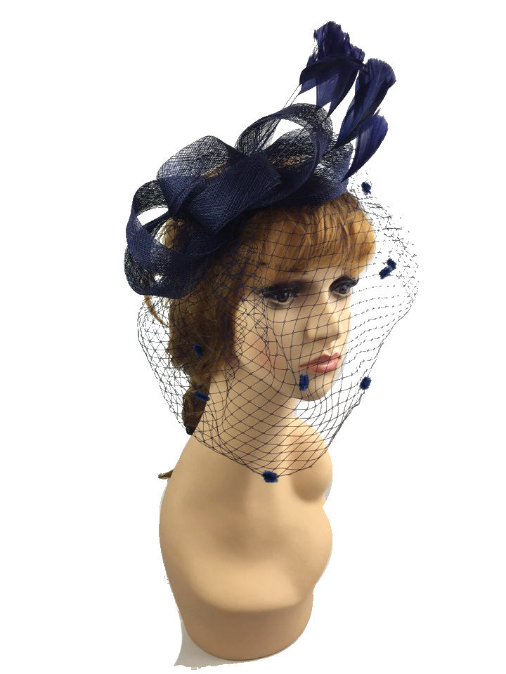 Women s Sinamay Bow   Feather Fascinator Headband – Sox   More 621d3e82334