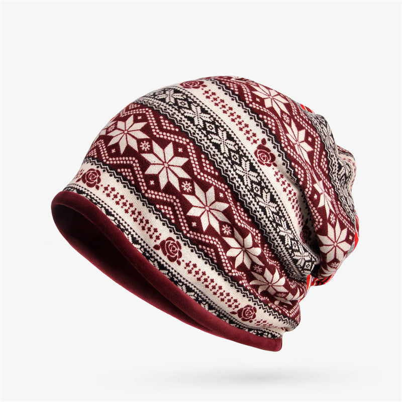db4de194e Women Snowflake Print Multi-purpose Beanie Hats Scraf