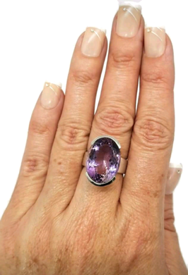 Amethyst Ring, Big Oval Solitaire, size 7.75, 925 Sterling Silver - GemzAustralia