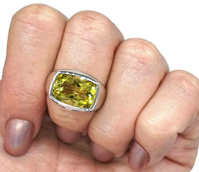 Lemon Quartz Ring, rectangle shaped, Size 7.75, Solid Bezel Setting - GemzAustralia