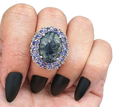 Tanzanite & Black Onyx ring, size 6.5, sterling silver, Floral design - GemzAustralia