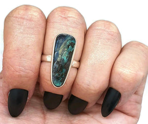 Carved Boulder Opal ring, size 7, sterling silver, blue & green Opal - GemzAustralia