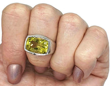 Load image into Gallery viewer, Lemon Quartz Ring, rectangle shaped, Size 7.75, Solid Bezel Setting - GemzAustralia