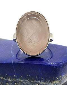 Rose Quartz Ring, Size 8.25, Sterling Silver, Oval Shaped, Cabochon - GemzAustralia