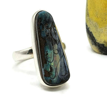 Load image into Gallery viewer, Carved Boulder Opal ring, size 7, sterling silver, blue & green Opal - GemzAustralia