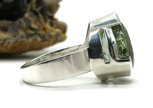 Green Amethyst Ring, size 8.75, sterling silver, Prasiolite ring, NEW