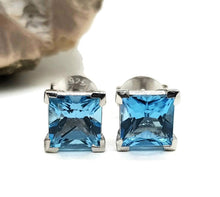 Load image into Gallery viewer, Blue Topaz Studs, Square Stud, 925 Sterling Silver, December Gemstone - GemzAustralia