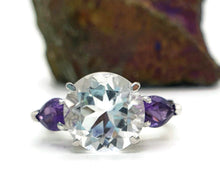 Load image into Gallery viewer, Clear Quartz & Amethyst Ring, Size 8 US, 925 Sterling Silver, Trilogy - GemzAustralia