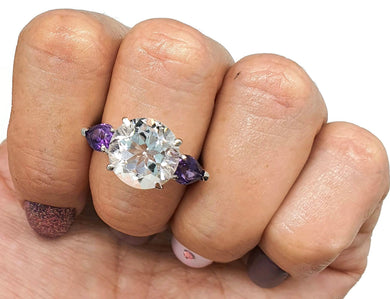 Clear Quartz & Amethyst Ring, Size 8 US, 925 Sterling Silver, Trilogy - GemzAustralia