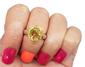 SALE | Big Statement Citrine Solitaire Ring, size 7, Engagement - GemzAustralia
