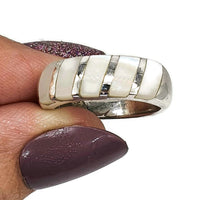 Load image into Gallery viewer, Mother of Pearl Ring, 925 Sterling Silver, Size 6.5, Band Ring, Power - GemzAustralia