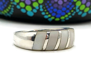 Mother of Pearl Ring, 925 Sterling Silver, Size 6.5, Band Ring, Power - GemzAustralia