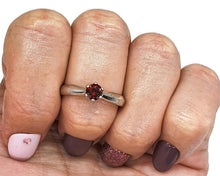 Load image into Gallery viewer, Garnet Ring, Solitaire Ring, Size 8.5, 925 Sterling Silver, January - GemzAustralia