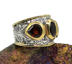 Garnet Ring, 925 Sterling Silver, Size 7.25, Gold Brass Ring, January - GemzAustralia