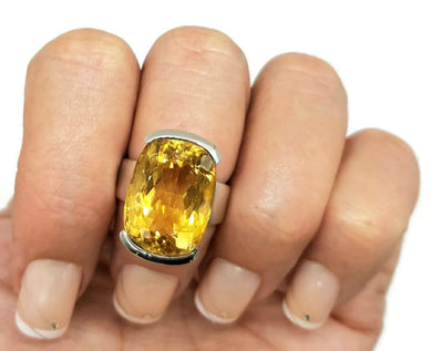 Stunning Citrine Ring, size 6.5, Sterling Silver, Rectangle, NEW - GemzAustralia