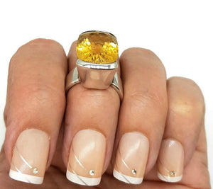 Citrine Ring, Rectangle shaped, 925 Sterling Silver Ring, Size 6.5 - GemzAustralia
