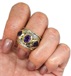 Amethyst Ring, Size 8, February Birthstone, Solid Gold Brass, Silver - GemzAustralia