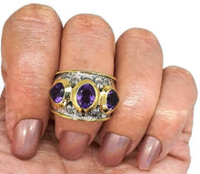 Load image into Gallery viewer, Amethyst Ring, Size 8, February Birthstone, Solid Gold Brass, Silver - GemzAustralia