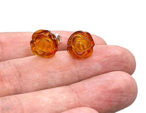 Baltic Amber Studs, Flower Studs, Amber Floral Earrings, ancient - GemzAustralia