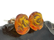 Load image into Gallery viewer, Baltic Amber Studs, Flower Studs, Amber Floral Earrings, ancient - GemzAustralia