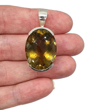 Load image into Gallery viewer, Citrine Pendant, Sterling Silver, Checkerboard Faceted, Wealth Stone - GemzAustralia
