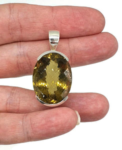 Citrine Pendant, Sterling Silver, Checkerboard Faceted, Wealth Stone - GemzAustralia