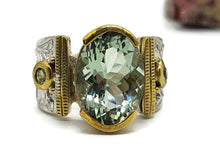 Load image into Gallery viewer, Green Amethyst & Peridot Ring, 2 Sizes, Sterling Silver, Gold Brass - GemzAustralia