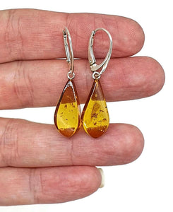 Cognac Amber Earrings, Pear Shaped, Baltic Amber, Sterling Silver - GemzAustralia
