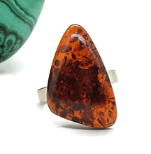 Load image into Gallery viewer, Amber Ring, Adjustable, size 7, Triangle shaped, Cognac Baltic Amber - GemzAustralia