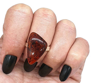 Amber Ring, Adjustable, size 7, Triangle shaped, Cognac Baltic Amber - GemzAustralia