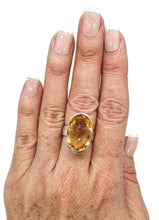 Load image into Gallery viewer, Citrine Ring, Size 7.5, Big Oval Shape, Sterling Silver, Checkerboard - GemzAustralia