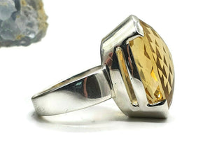 Citrine Ring, Size 7.5, Big Oval Shape, Sterling Silver, Checkerboard - GemzAustralia