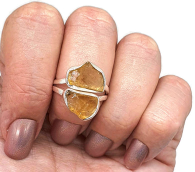 Raw Citrine Ring, Size 8, Sterling Silver, Rough Gemstone, Natural - GemzAustralia