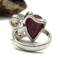 Load image into Gallery viewer, Raw Garnet & Citrine Ring, Size 7, Sterling Silver, Jan & Nov gems - GemzAustralia