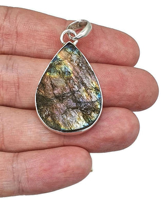 Raw Spectrolite Labradorite Pendant, Sterling Silver, Only one - GemzAustralia
